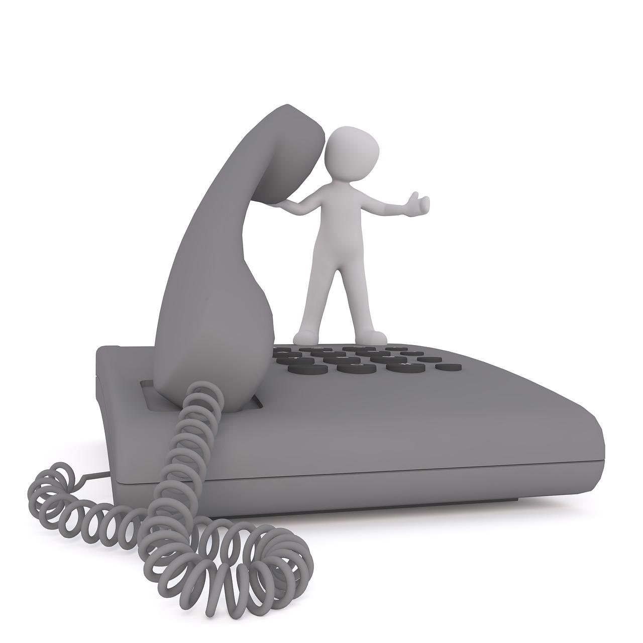 Téléphone fixe et téléphone portable.